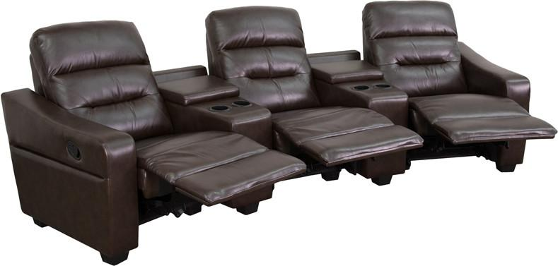 Flash Furniture BT-70380-3-BRN-GG Futura Series 3-Seat Reclining Brown Leather Theater Seating Unit with Cup Holders from Flash Furniture