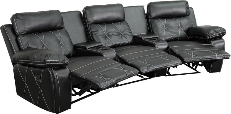 Flash Furniture BT-70530-3-BK-CV-GG Reel Comfort Series 3-Seat Reclining Black Leather Theater Seating Unit with Curved Cup Holders from Flash Furniture