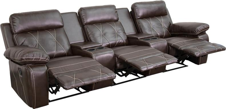 Flash Furniture BT-70530-3-BRN-GG Reel Comfort Series 3-Seat Reclining Brown Leather Theater Seating Unit with Straight Cup Holders from Flash Furniture