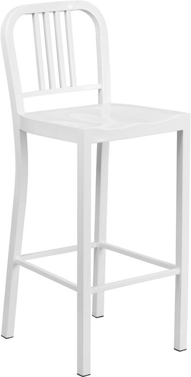 Flash Furniture CH-31200-30-WH-GG 30'' White Metal Bar Stool from Flash Furniture
