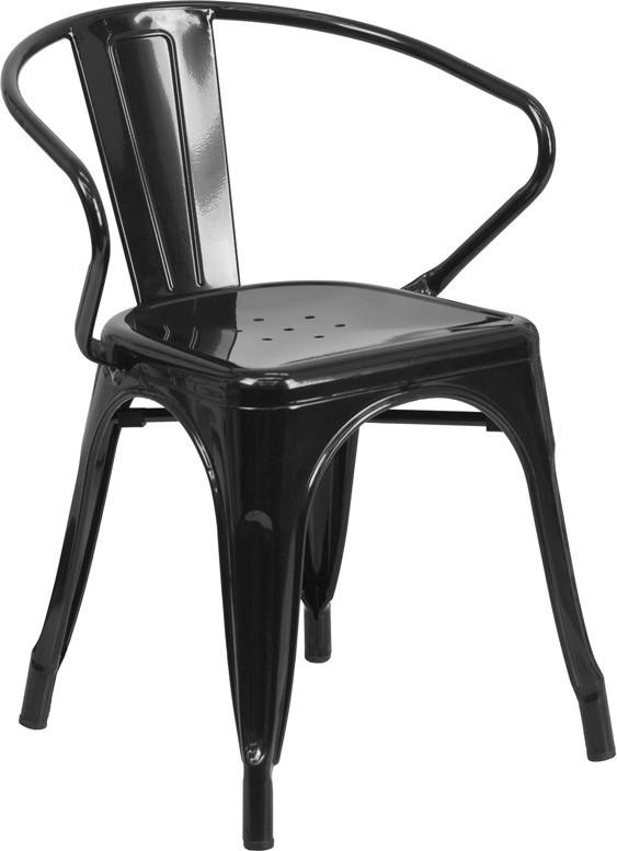 Flash Furniture CH-31270-BK-GG Black Metal Chair with Arms from Flash Furniture