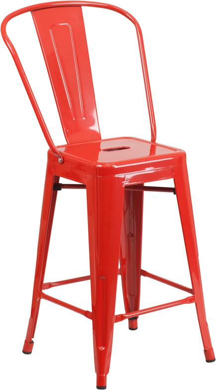 Flash Furniture CH-31320-24GB-RED-GG 24'' High Red Metal Indoor-Outdoor Counter Height Stool with Back from Flash Furniture
