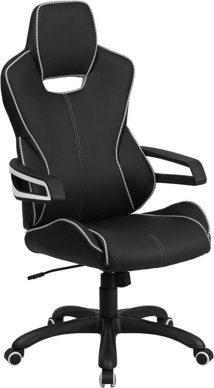 Flash Furniture CH-CX0699H01-GG High Back Black Vinyl Executive Swivel Office Chair with White Trim from Flash Furniture