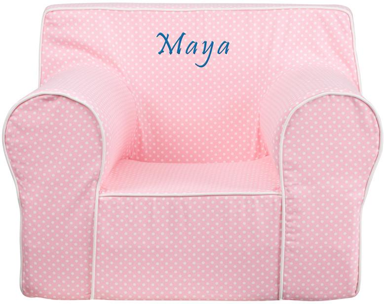 Flash Furniture DG-LGE-CH-KID-DOT-PK-TXTEMB-GG Personalized Oversized Light Pink Dot Kids Chair with White Piping from Flash Furniture