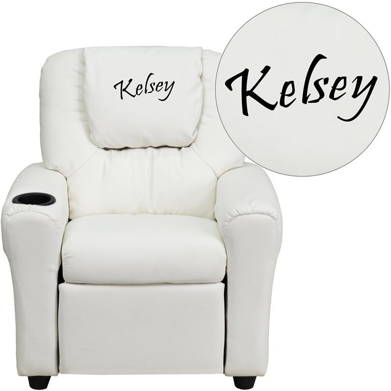 Flash Furniture DG-ULT-KID-WHITE-TXTEMB-GG Personalized White Vinyl Kids Recliner with Cup Holder and Headrest from Flash Furniture