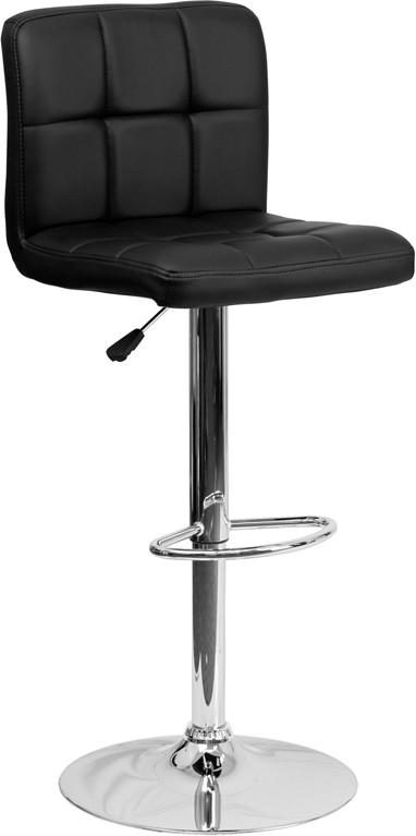 Flash Furniture DS-810-MOD-BK-GG Contemporary Black Quilted Vinyl Adjustable Height Bar Stool with Chrome Base from Flash Furniture