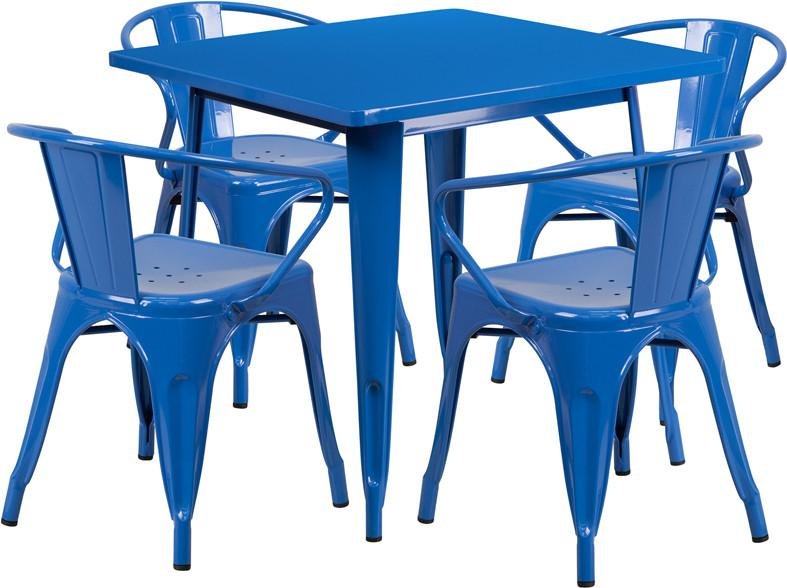 Flash Furniture ET-CT002-4-70-BL-GG 31.5'' Square Blue Metal Indoor Table Set with 4 Arm Chairs from Flash Furniture