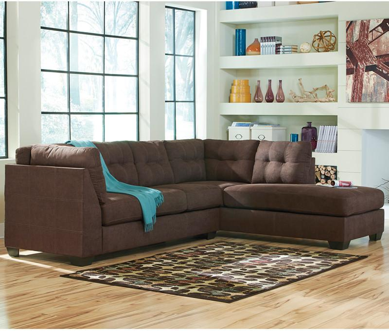 Flash Furniture FBC-2349RFSEC-WAL-GG Benchcraft Maier Sectional with Right Side Facing Chaise in Walnut Microfiber from Flash Furniture