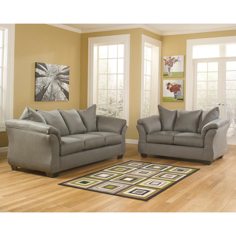 Flash Furniture FSD-1109SET-COB-GG Signature Design by Ashley Darcy Living Room Set in Cobblestone Fabric from Flash Furniture