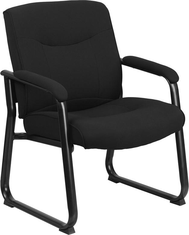 Flash Furniture GO-2136F-GG HERCULES Series Big & Tall 500 lb. Capacity Black Fabric Executive Side Chair with Sled Base from Flash Furniture