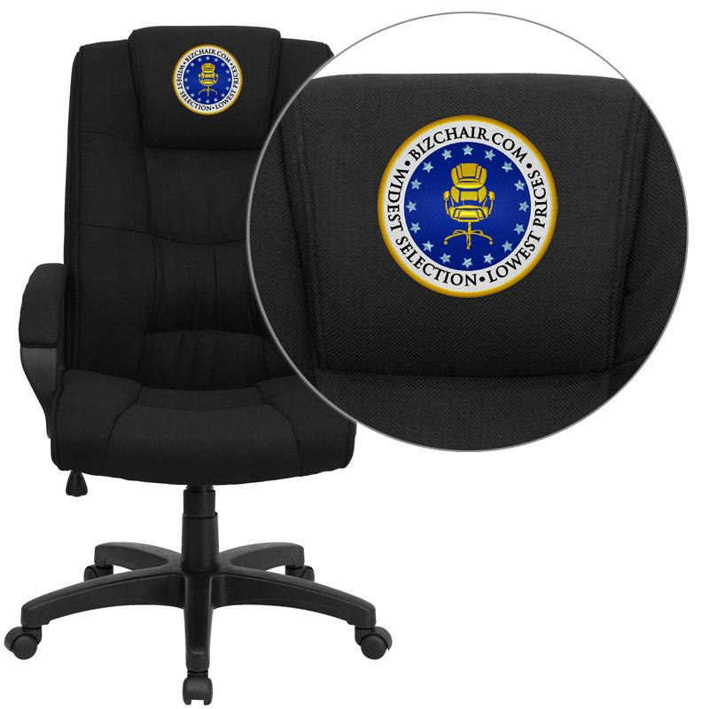 Flash Furniture GO-5301B-BK-EMB-GG Embroidered High Back Black Fabric Executive Office Chair from Flash Furniture