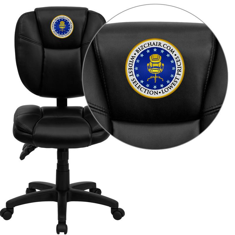 Flash Furniture GO-930F-BK-LEA-EMB-GG Embroidered Mid-Back Black Leather Multi-Functional Ergonomic Task Chair from Flash Furniture