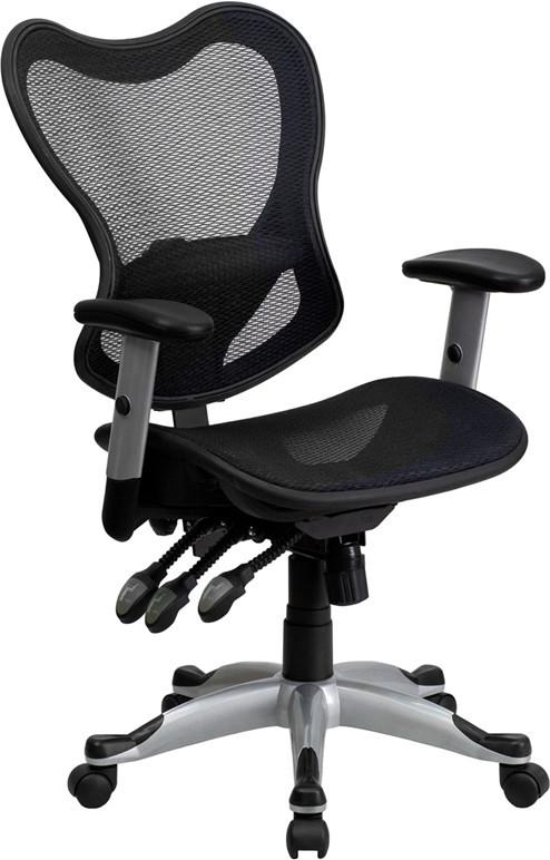 Flash Furniture GO-WY-55-GG Mid-Back Black Mesh Chair with Triple Paddle Control from Flash Furniture