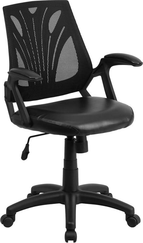 Flash Furniture GO-WY-82-LEA-GG Mid-Back Black Mesh Chair with Leather Seat from Flash Furniture