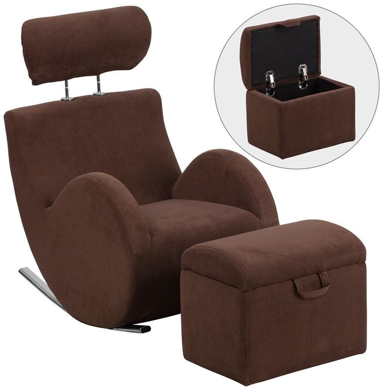 Flash Furniture LD-2025-BN-GG HERCULES Series Brown Fabric Rocking Chair with Storage Ottoman from Flash Furniture
