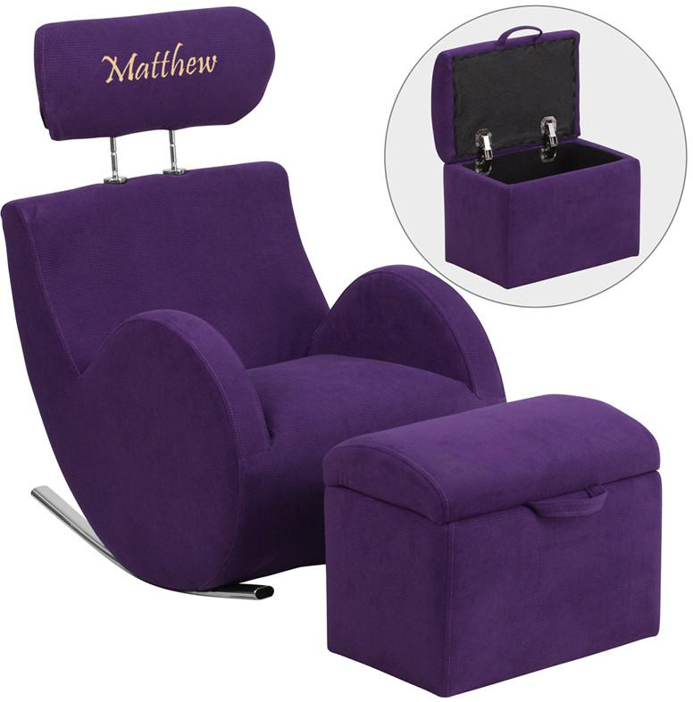 Flash Furniture LD-2025-PU-EMB-GG Personalized HERCULES Series Purple Fabric Rocking Chair with Storage Ottoman from Flash Furniture