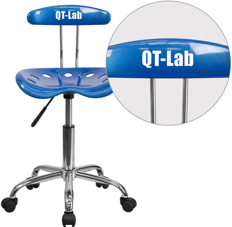 Flash Furniture LF-214-BRIGHTBLUE-TXTEMB-VYL-GG Personalized Vibrant Bright Blue and Chrome Task Chair with Tractor Seat from Flash Furniture