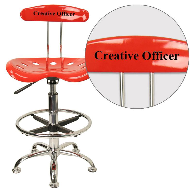 Flash Furniture LF-215-RED-EMB-VYL-GG Personalized Vibrant Red and Chrome Drafting Stool with Tractor Seat from Flash Furniture