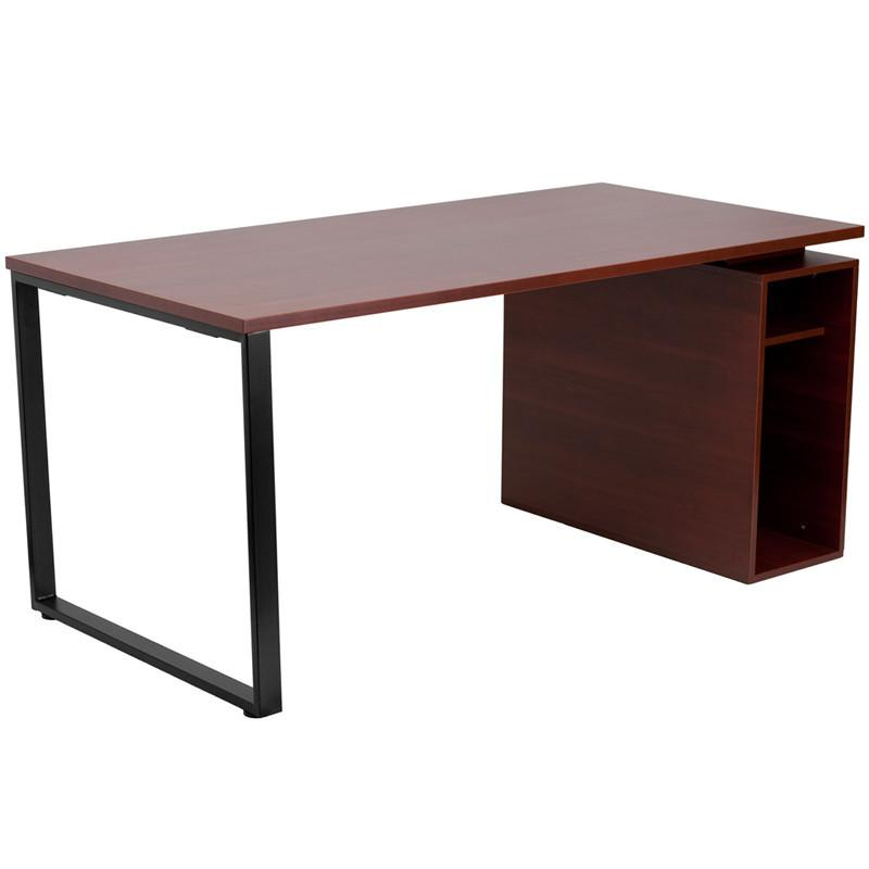 Flash Furniture NAN-JN-2108-GG Mahogany Computer Desk with Open Storage Pedestal from Flash Furniture