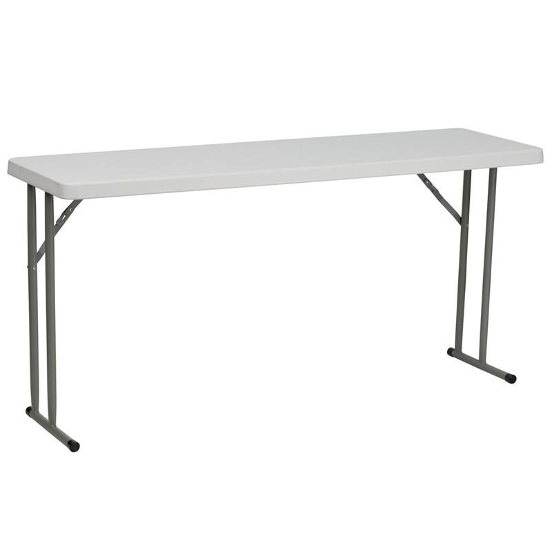 Flash Furniture RB-1860-GG 18''W x 60''L Granite White Plastic Folding Training Table from Flash Furniture