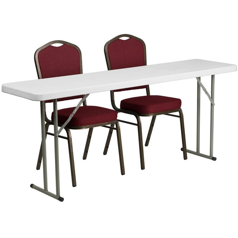 Flash Furniture RB-1872-1-GG 18'' x 72'' Plastic Folding Training Table with 2 Crown Back Stack Chairs from Flash Furniture