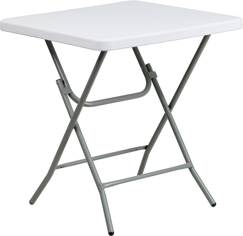Flash Furniture RB-2727-74-GG 27'' Square Granite White Plastic Folding Table from Flash Furniture