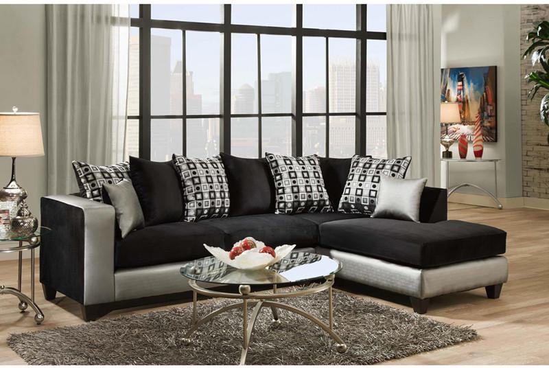 Flash Furniture RS-4124-06SEC-GG Riverstone Implosion Black Velvet Sectional from Flash Furniture