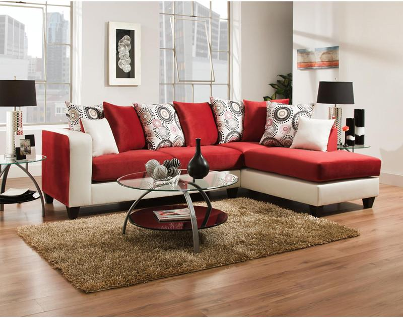 Flash Furniture RS-4124-10SEC-GG Riverstone Implosion Red Velvet Sectional from Flash Furniture