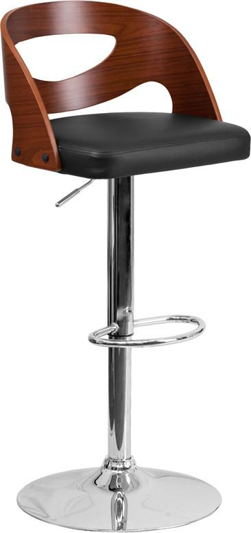 Flash Furniture SD-2168-WAL-GG Walnut Bentwood Adjustable Height Barstool with Black Vinyl Seat and Cutout Back from Flash Furniture