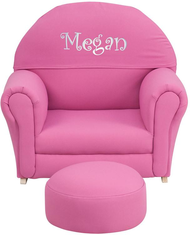 Flash Furniture SF-03-OTTO-HP-EMB-GG Personalized Kids Hot Pink Fabric Rocker Chair and Footrest from Flash Furniture
