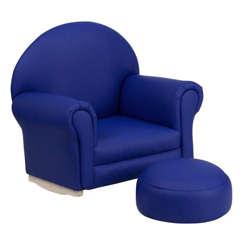 Flash Furniture SF-03-OTTO-NY-GG Kids Navy Vinyl Rocker Chair and Footrest from Flash Furniture