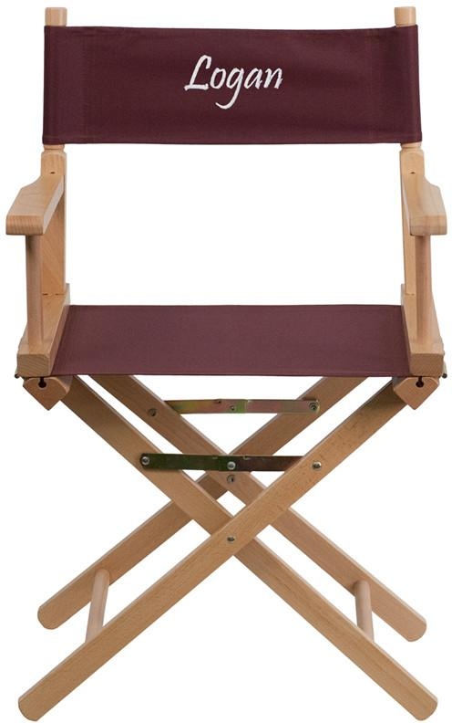 Flash Furniture TYD02-BN-EMB-GG Embroidered Standard Height Directors Chair in Brown from Flash Furniture