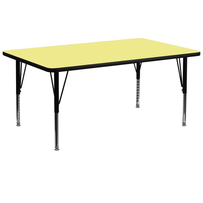 Flash Furniture XU-A3072-REC-YEL-T-P-GG 30''W x 72''L Rectangular Activity Table with Yellow Thermal Fused Laminate Top and Height Adjustable Pre-Scho from Flash Furniture
