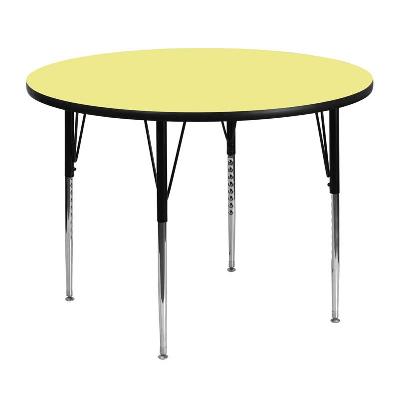 Flash Furniture XU-A48-RND-YEL-T-A-GG 48'' Round Activity Table with Yellow Thermal Fused Laminate Top and Standard Height Adjustable Legs from Flash Furniture