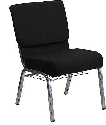 Flash Furniture XU-CH0221-BK-SV-GG HERCULES Series 21'' Extra Wide Black Stacking Church Chair with 3.75'' Thick Seat - Silver Vein Frame from Flash Furniture