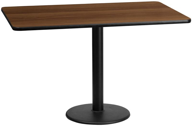 Flash Furniture XU-WALTB-3060-TR18-GG 30'' x 60'' Rectangular Walnut Laminate Table Top with 18'' Round Table Height Bases from Flash Furniture