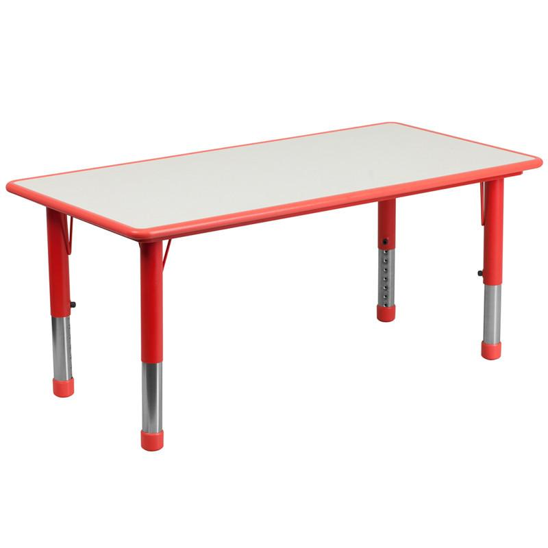 Flash Furniture YU-YCY-060-RECT-TBL-RED-GG 23.625''W x 47.25''L Height Adjustable Rectangular Red Plastic Activity Table with Grey Top from Flash Furniture