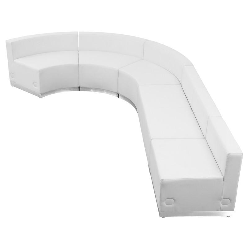 Flash Furniture ZB-803-470-SET-WH-GG HERCULES Alon Series White Leather Reception Configuration, 5 Pieces from Flash Furniture