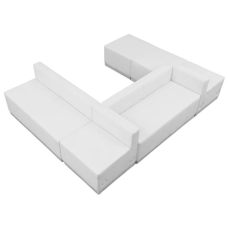 Flash Furniture ZB-803-510-SET-WH-GG HERCULES Alon Series White Leather Reception Configuration, 6 Pieces from Flash Furniture