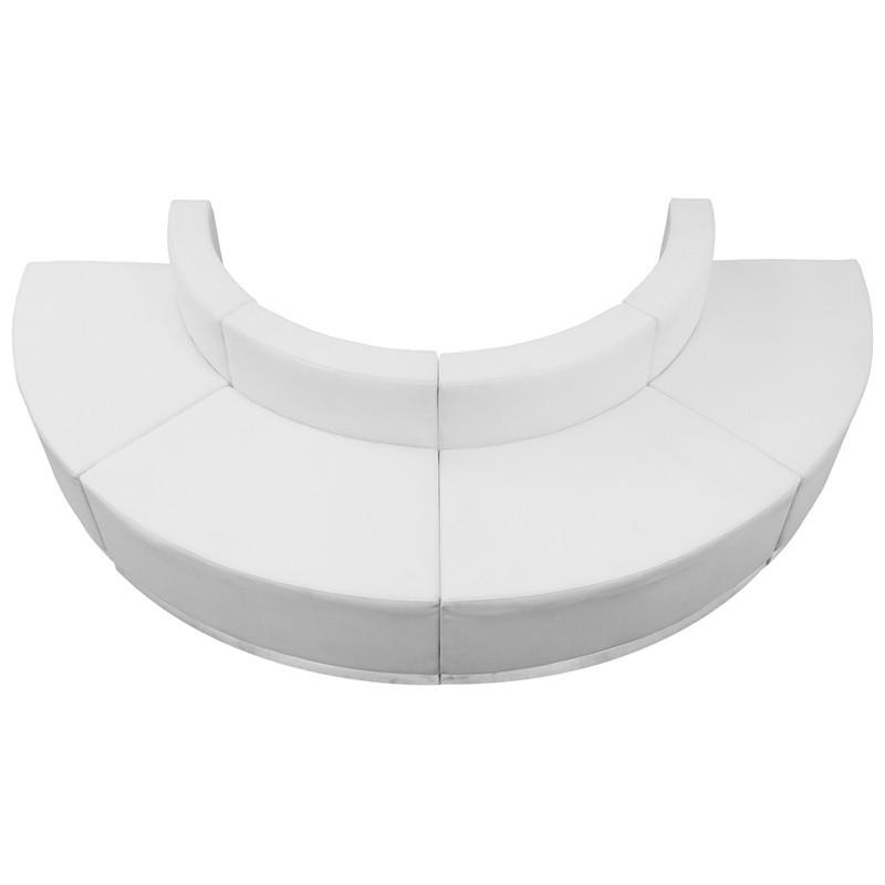 Flash Furniture ZB-803-520-SET-WH-GG HERCULES Alon Series White Leather Reception Configuration, 4 Pieces from Flash Furniture