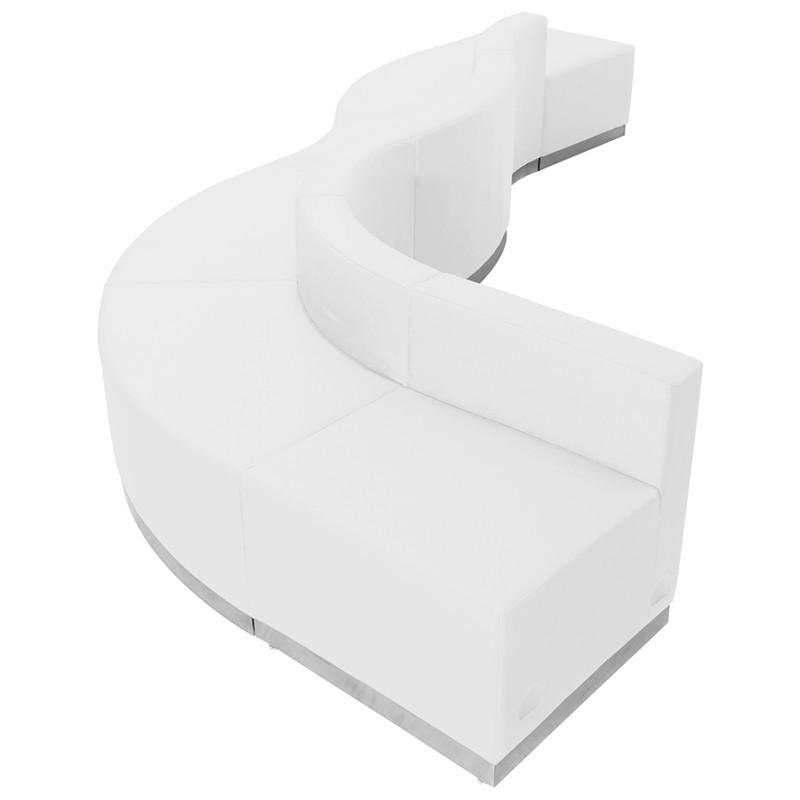 Flash Furniture ZB-803-580-SET-WH-GG HERCULES Alon Series White Leather Reception Configuration, 6 Pieces from Flash Furniture
