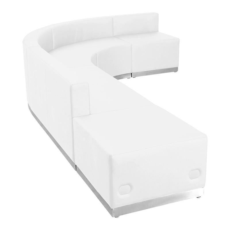 Flash Furniture ZB-803-610-SET-WH-GG HERCULES Alon Series White Leather Reception Configuration, 5 Pieces from Flash Furniture