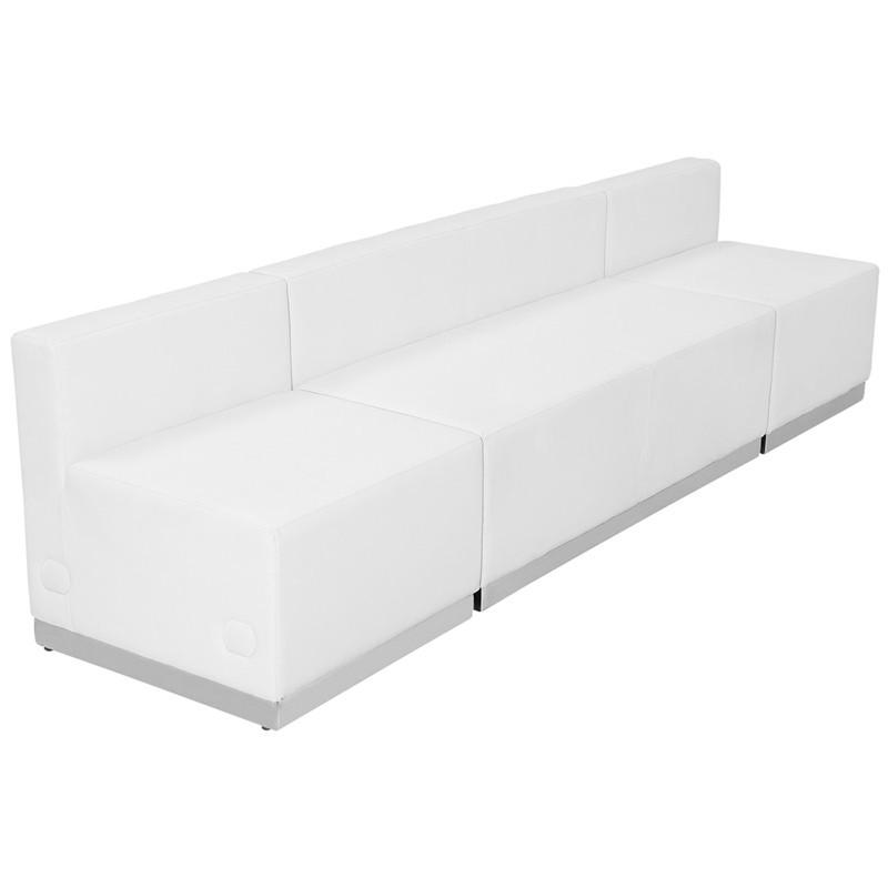 Flash Furniture ZB-803-680-SET-WH-GG HERCULES Alon Series White Leather Reception Configuration, 3 Pieces from Flash Furniture