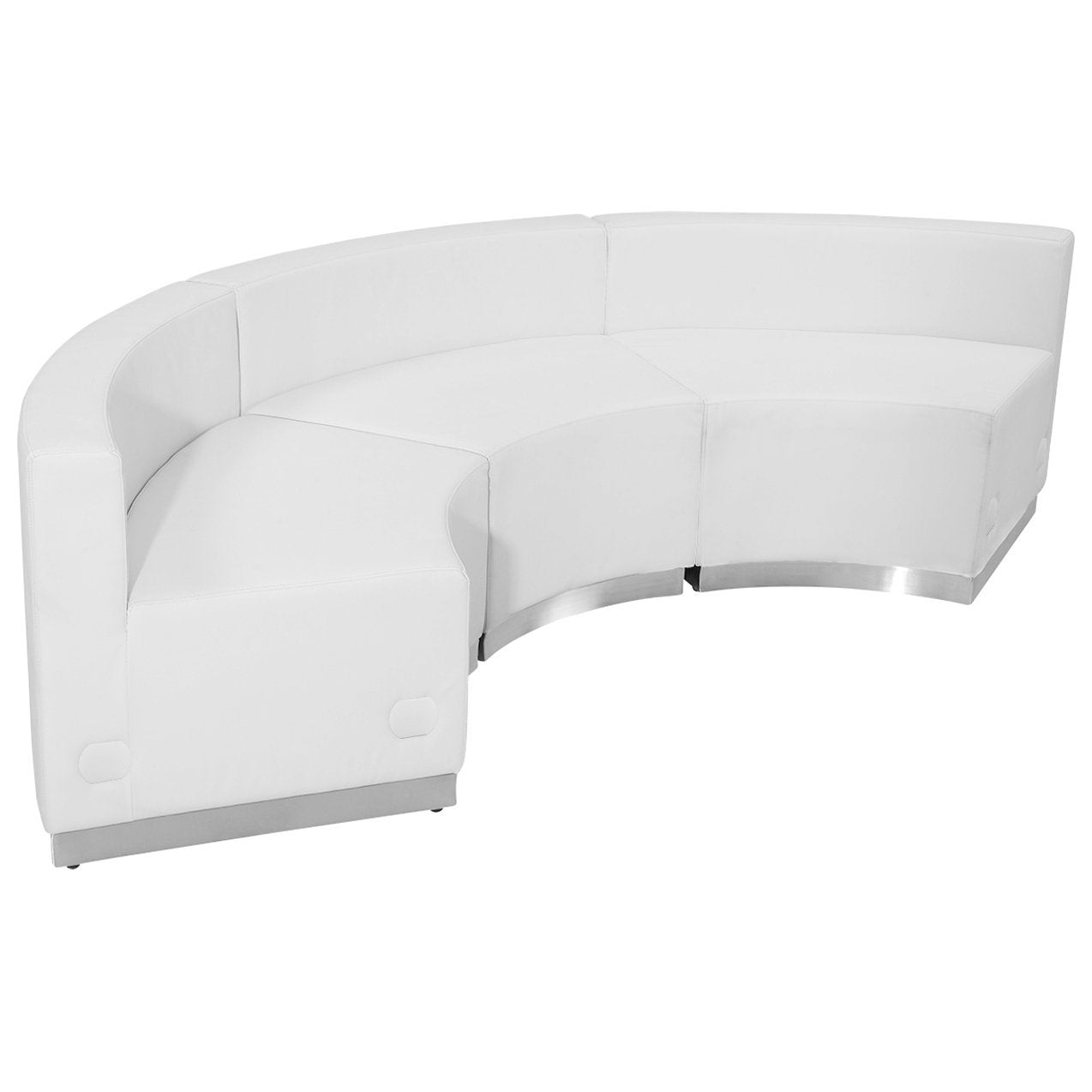 Flash Furniture ZB-803-740-SET-WH-GG HERCULES Alon Series White Leather Reception Configuration, 3 Pieces from Flash Furniture