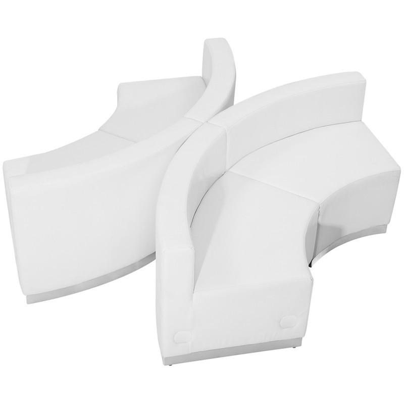 Flash Furniture ZB-803-840-SET-WH-GG HERCULES Alon Series White Leather Reception Configuration, 4 Pieces from Flash Furniture