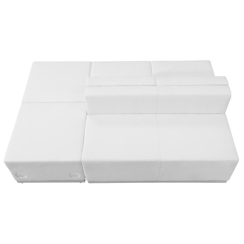 Flash Furniture ZB-803-880-SET-WH-GG HERCULES Alon Series White Leather Reception Configuration, 4 Pieces from Flash Furniture