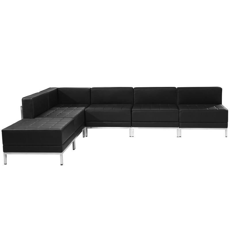 Flash Furniture ZB-IMAG-SECT-SET10-GG HERCULES Imagination Series Black Leather Sectional Configuration, 6 Pieces from Flash Furniture