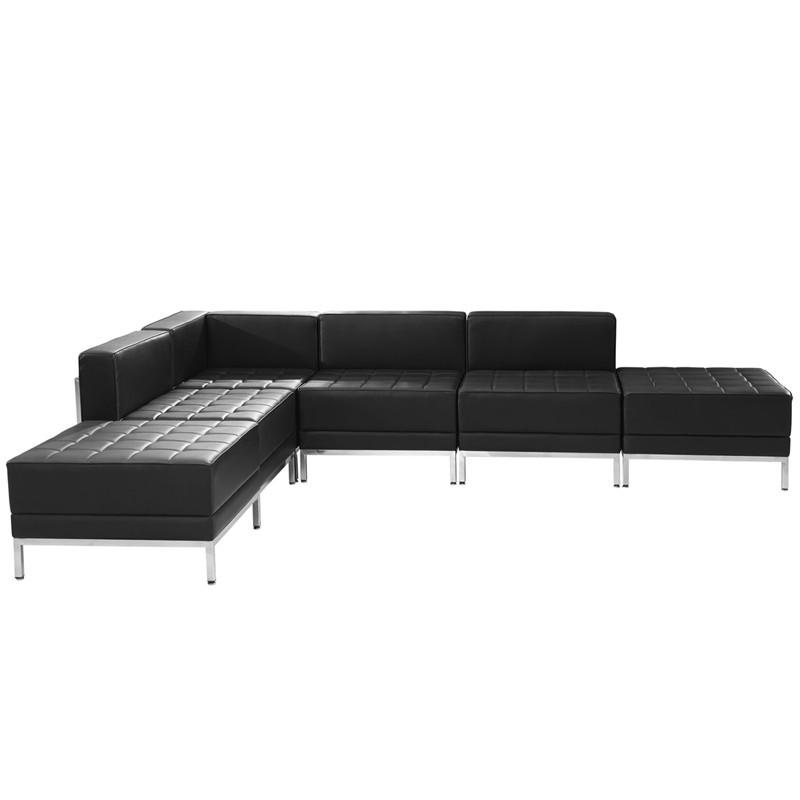 Flash Furniture ZB-IMAG-SECT-SET8-GG HERCULES Imagination Series Black Leather Sectional Configuration, 6 Pieces from Flash Furniture