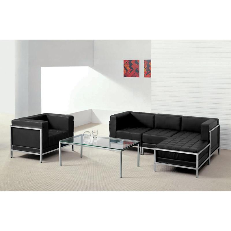 Flash Furniture ZB-IMAG-SET12-GG HERCULES Imagination Series Black Leather Sectional & Chair, 5 Pieces from Flash Furniture