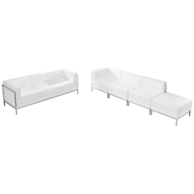 Flash Furniture ZB-IMAG-SET16-WH-GG HERCULES Imagination Series White Leather Sofa & Lounge Chair Set, 5 Pieces from Flash Furniture